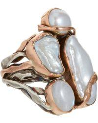 Sandra Dini - Freshwater Pearl Labradorite Ring - Lyst