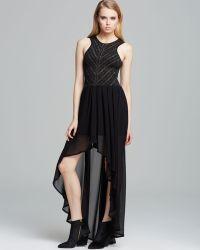 Torn By Ronny Kobo Dress Renee Metallic Knit and Chiffon - Black
