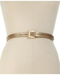 Calvin Klein Reversible Logo Buckle Skinny Belt - Lyst