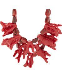 Fenton Crimson Coral Bib Necklace - Red