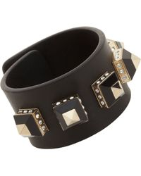 Givenchy Leather Cuff with Gold Crystal Pyramid Studs - Lyst