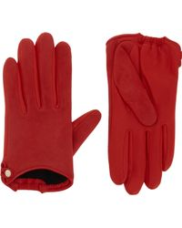 Givenchy Suede and Leather Gloves - Red