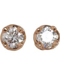 Hoorsenbuhs - Diamond Rose Gold Stud Earrings - Lyst
