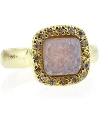 Marcia Moran - Pave Square Druzy Ring Pink Size 7 - Lyst