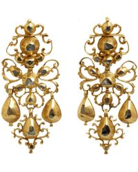Olivia Collings Diamond Filigree Bow Drop Earrings