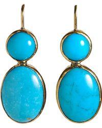 Sandra Dini Turquoise Drop Earrings - Metallic