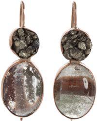 Sandra Dini Pyrite Rutilated Moss Quartz Earrings - Metallic