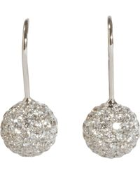 Shamballa Jewels - Pave Diamond White Gold Ball Drop Earrings - Lyst