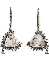 Sharon Khazzam - Dendritic Quartz Diamond Moonstone Tourmaline Banff Earrings - Lyst