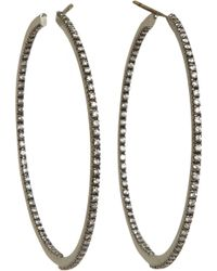 Sidney Garber - Diamond Black Gold Medium Perfect Round Hoop Earrings - Lyst