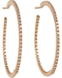 Sidney Garber - Diamond Rose Gold Hoop Earrings - Lyst