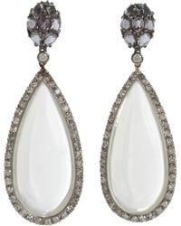 Sidney Garber - Diamond Spinel Moonstone Drop Earrings - Lyst