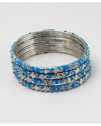 Chamak By Priya Kakkar Set Of 4 - Blue Enamel And Crystal Bangles blue - Lyst