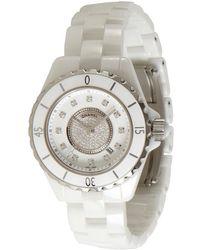 Chanel White Ceramic and Diamond J12 Gemset Watch - Lyst