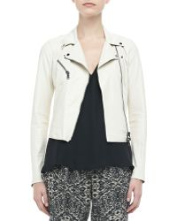 Haute Hippie Cropped Leather Motorcycle Jacket - Lyst