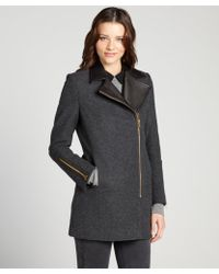 Kai-aakmann Charcoal Wool Blend Asymmetrical Wool Coat With Leather Collar - Lyst