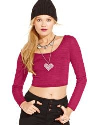 Material Girl - Juniors Long Sleeve Textured Cropped Top - Lyst