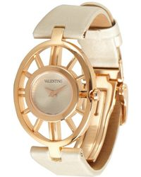 Valentino - Ivory and Gold Vanity Cutout Bezel Satin Strap Estate Watch - Lyst