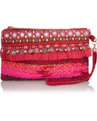 Matthew Williamson Swarovski Crystal Embellished Suede Wristlet Clutch - Pink