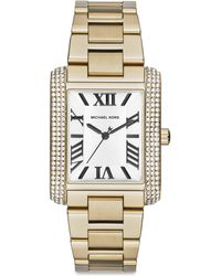 Michael Kors Emery Embellished Goldtone Stainless Steel Rectangular Bracelet Watch - Lyst