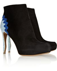 Nicholas Kirkwood Glitter-Finished Suede Ankle Boots - Lyst
