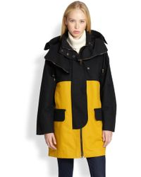 See By Chloé Colorblock Hooded Cotton Coat - Lyst