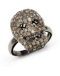 Bavna Pave Diamond Blackened Sterling Silver Skull Ring - Lyst