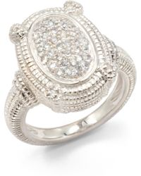 Judith Ripka | Pave White Sapphire Sterling Silver Textured Dome Ring | Lyst