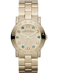 Marc By Marc Jacobs Amy Matte Yellow Golden Watch with Crystals - Metallic