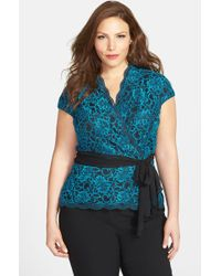 Alex Evenings Cap Sleeve Surplice Neckline Lace Blouse with Tie Belt - Lyst