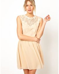 Oasis Beige Embroidered Dress - Lyst