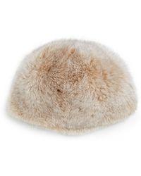 Saks Fifth Avenue Black Label Dyed Fox Fur Hat - Natural