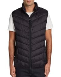 Blue Saks Fifth Avenue - Quilted Chevron Puffer Vest - Lyst