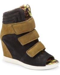 Boutique 9 | Nerine Peeptoe Colorblock Leather Wedge Sneakers | Lyst