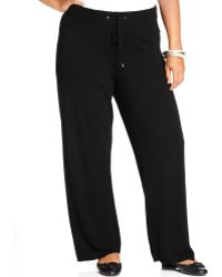 24a798f3cde Lyst - Calvin Klein Plus Size Knit Drawstring Lounge Pants in Black