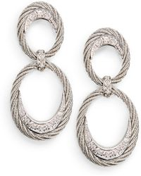 Charriol - Diamond 18k White Gold Stainless Steel Cable Drop Earrings - Lyst