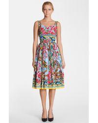 Dolce & Gabbana Bougainvillea Print Pleated Dress - Lyst