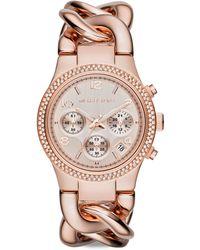 Michael Kors Runway Twist Rose Goldtone Stainless Steel & PavÉ Crystal Chronograph Bracelet Watch - Lyst