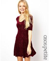 Asos Exclusive Skater Dress In Flocked Velvet - Lyst