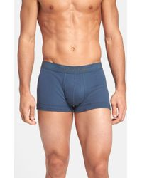 Calvin Klein Blue Cotton Trunks - Lyst