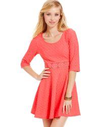 American Rag - Textured Crochetknittrim Skater Dress - Lyst