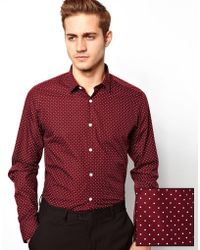 ASOS Smart Shirt In Long Sleeve With Polka Dot Print - Red