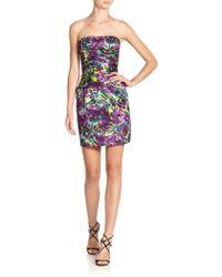 BCBGMAXAZRIA Floralprint Strapless Cocktail Dress - Lyst