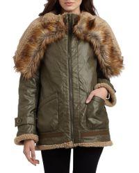 BCBGMAXAZRIA Wide Flap Collar Seamed Coat - Brown