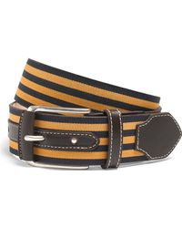 Brooks Brothers - Leather And Grosgrain Striped Belt - Lyst