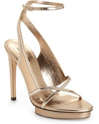 Calvin Klein Cobra Chain Metallic Leather Sandals - Lyst