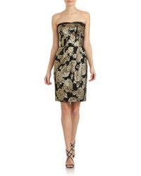 Dolce & Gabbana Metallic Jacquard Strapless Dress - Lyst
