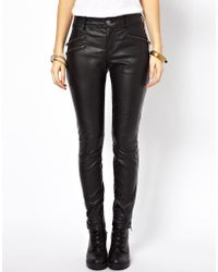 Free People Vegan Leather Pants with Zips - Lyst