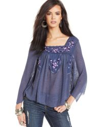 Free People  Embroidered Ruffled Peasant Top - Lyst