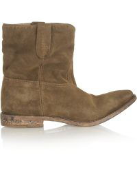 Isabel Marant Crisi Suede Concealed Wedge Biker Boots - Lyst